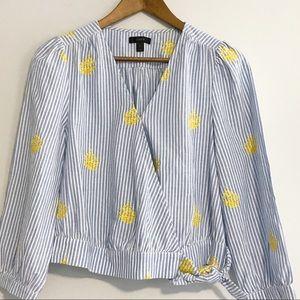 J. Crew gold pineapple long sleeve wrap shirt S